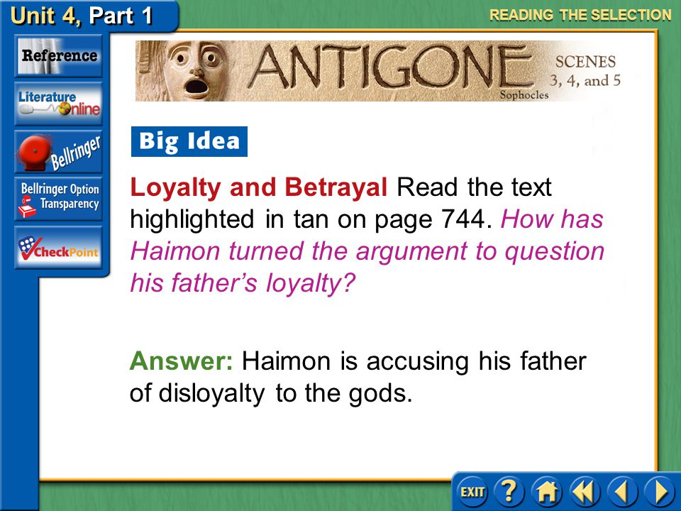 Answer: Haimon is accusing his father of disloyalty to the gods.