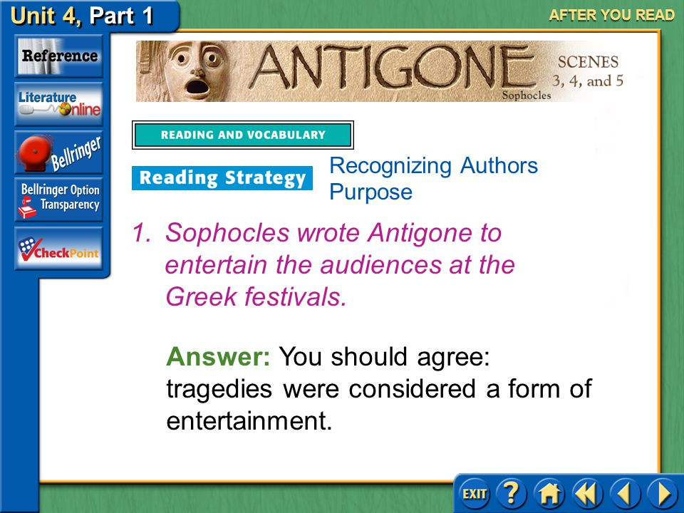 AFTER YOU READ Recognizing Authors Purpose. Sophocles wrote Antigone to entertain the audiences at the Greek festivals.