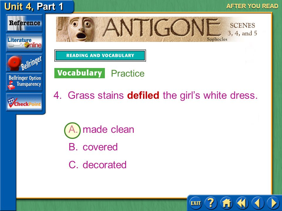 Grass stains defiled the girl's white dress.
