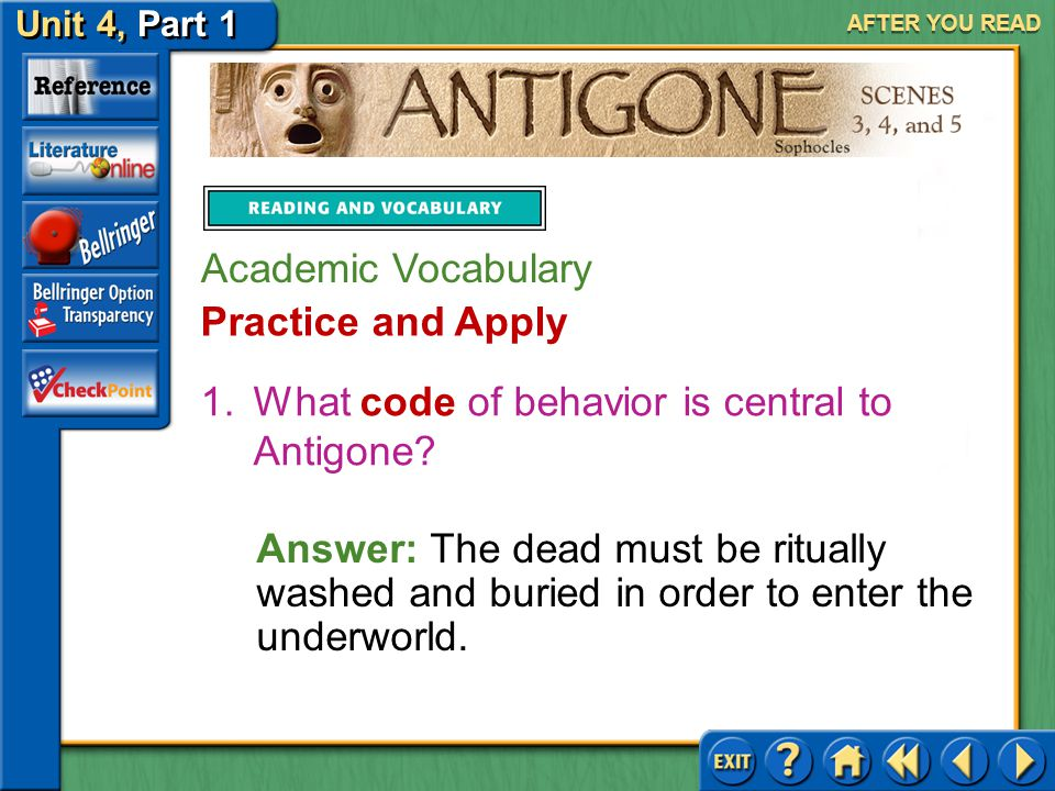 What code of behavior is central to Antigone
