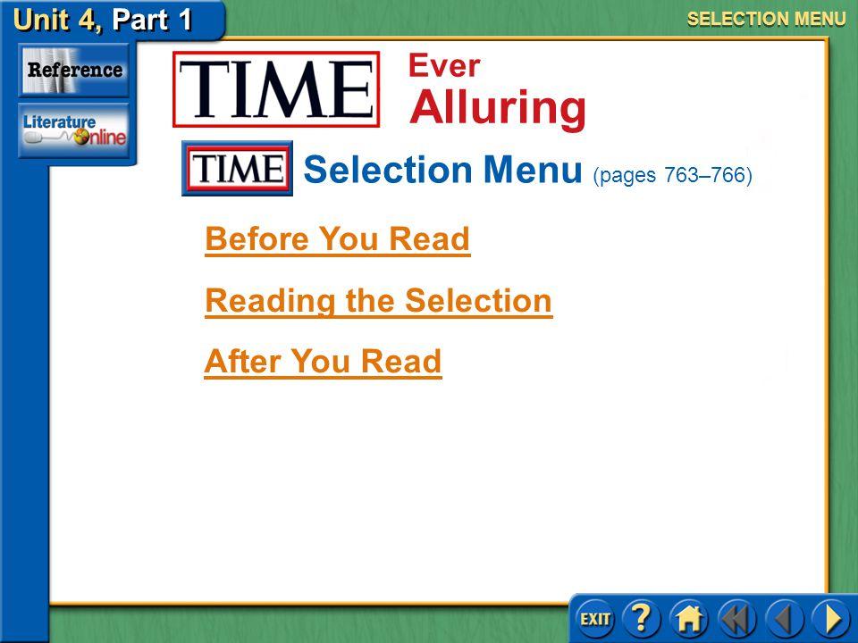 Selection Menu (pages 763–766)