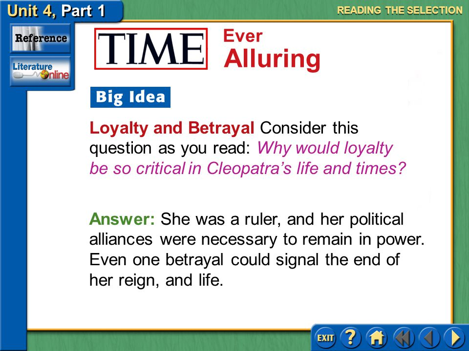 READING THE SELECTION Loyalty and Betrayal Consider this question as you read: Why would loyalty be so critical in Cleopatra's life and times