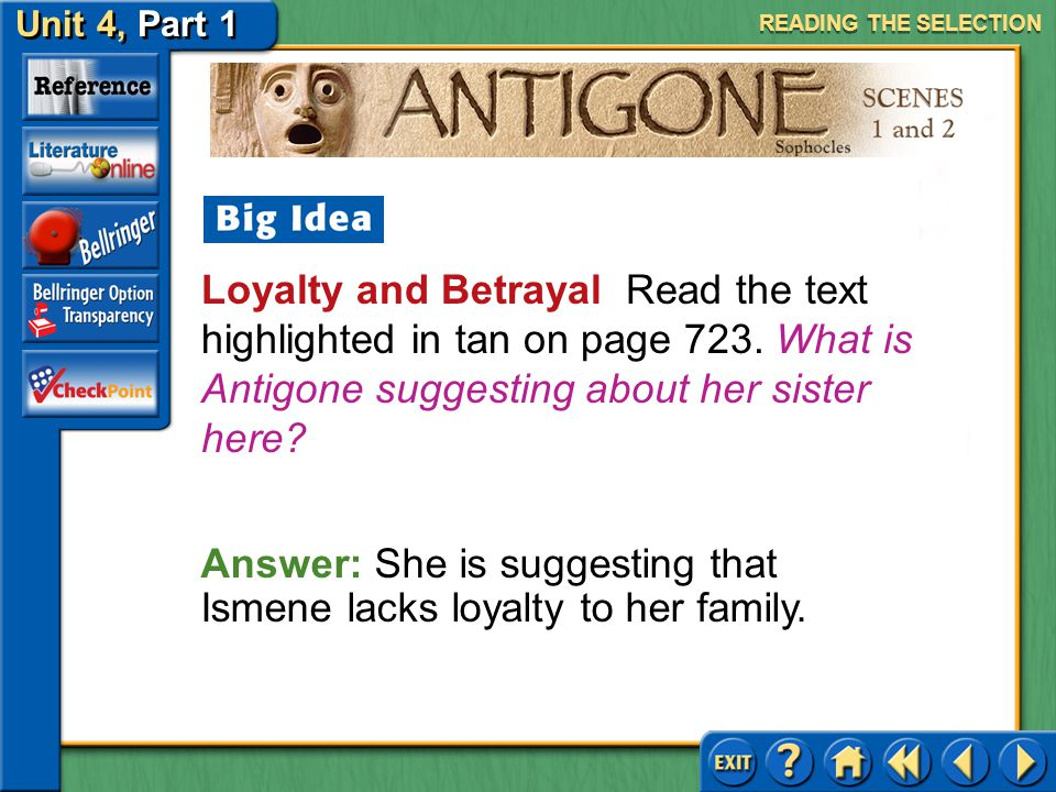 Answer: She is suggesting that Ismene lacks loyalty to her family.