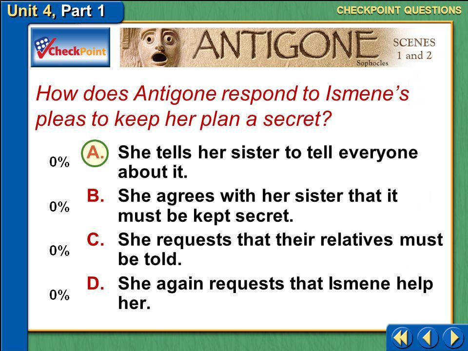 How does Antigone respond to Ismene's pleas to keep her plan a secret