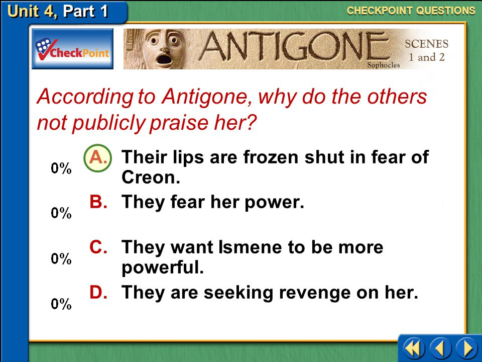 According to Antigone, why do the others not publicly praise her