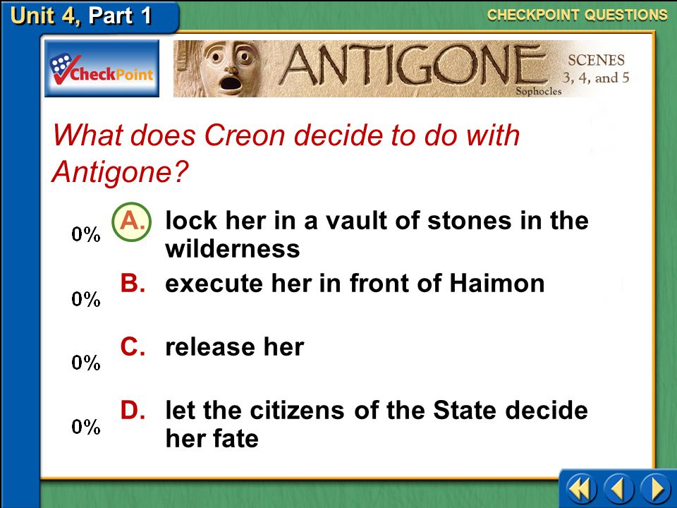 What does Creon decide to do with Antigone
