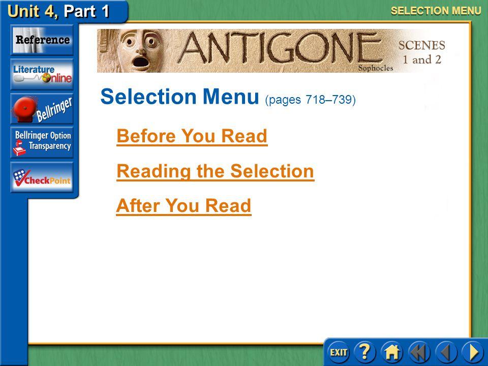 Selection Menu (pages 718–739)