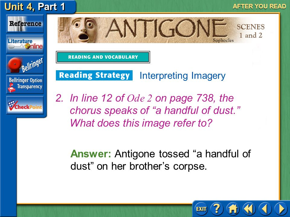 Answer: Antigone tossed a handful of dust on her brother's corpse.