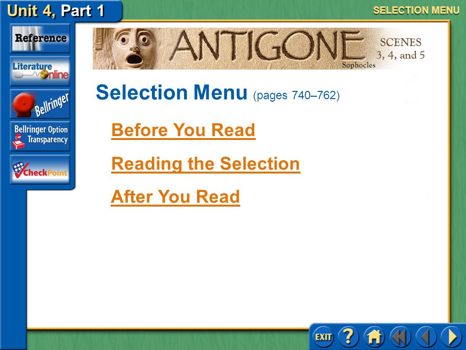 Selection Menu (pages 740–762)