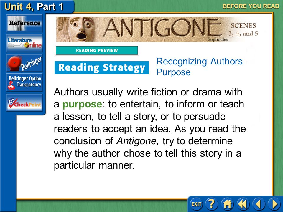 BEFORE YOU READ Recognizing Authors Purpose.