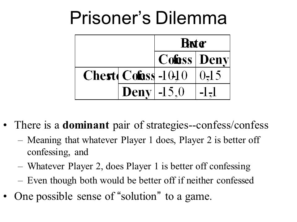 Prisoner's Dilemma There is a dominant pair of strategies--confess/confess.
