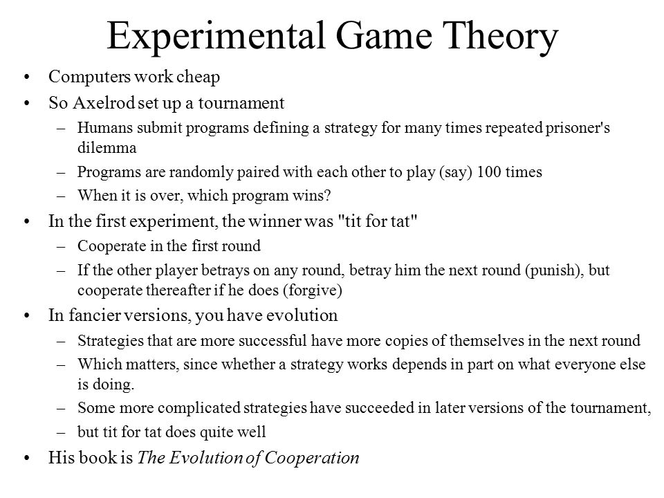 Experimental Game Theory