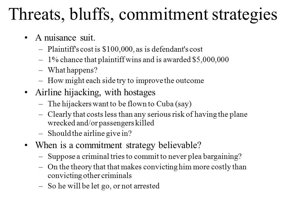 Threats, bluffs, commitment strategies