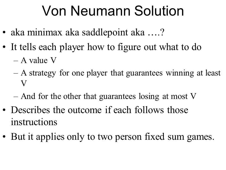 Von Neumann Solution aka minimax aka saddlepoint aka ….