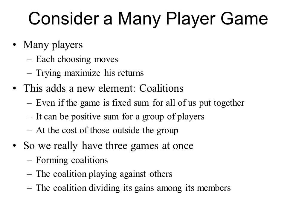 Consider a Many Player Game
