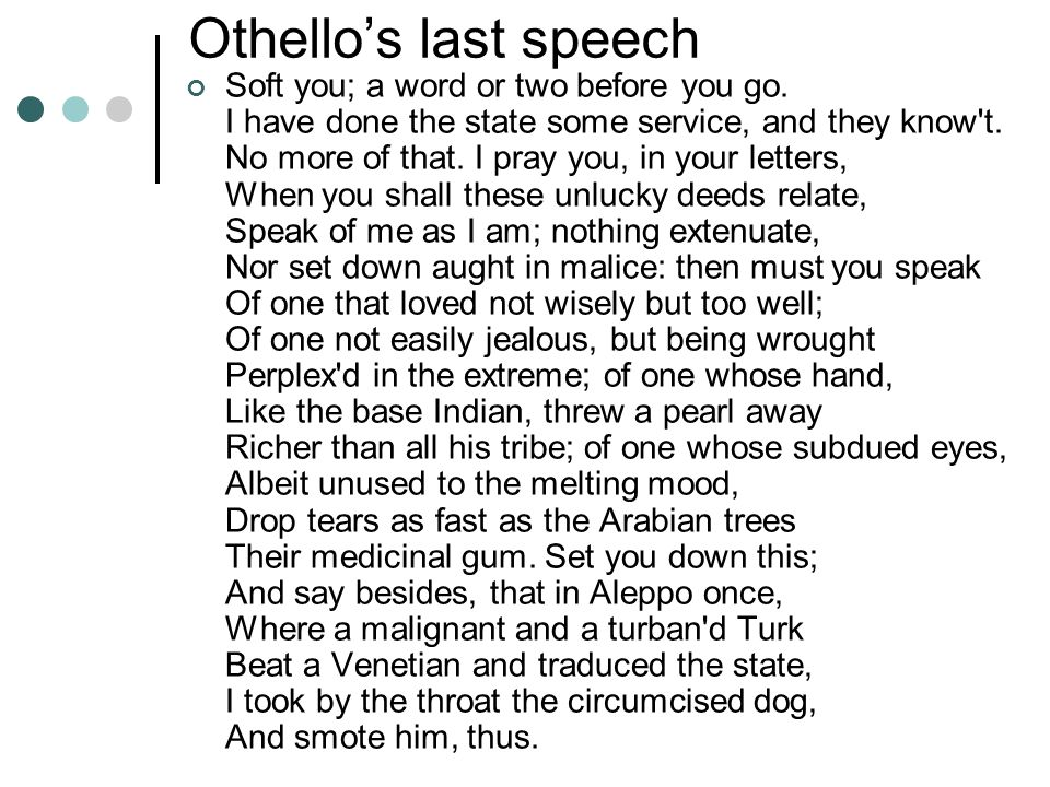 Othello's last speech