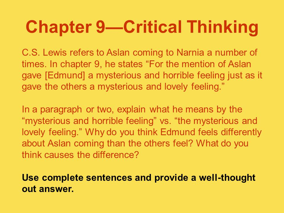 Chapter 9—Critical Thinking