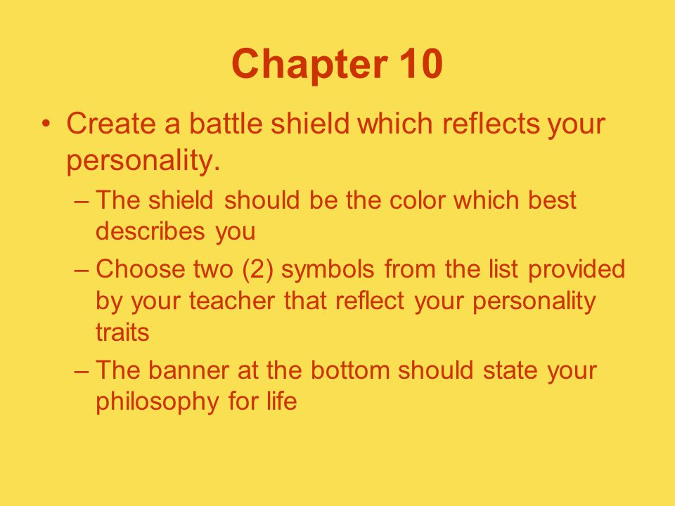Chapter 10 Create a battle shield which reflects your personality.