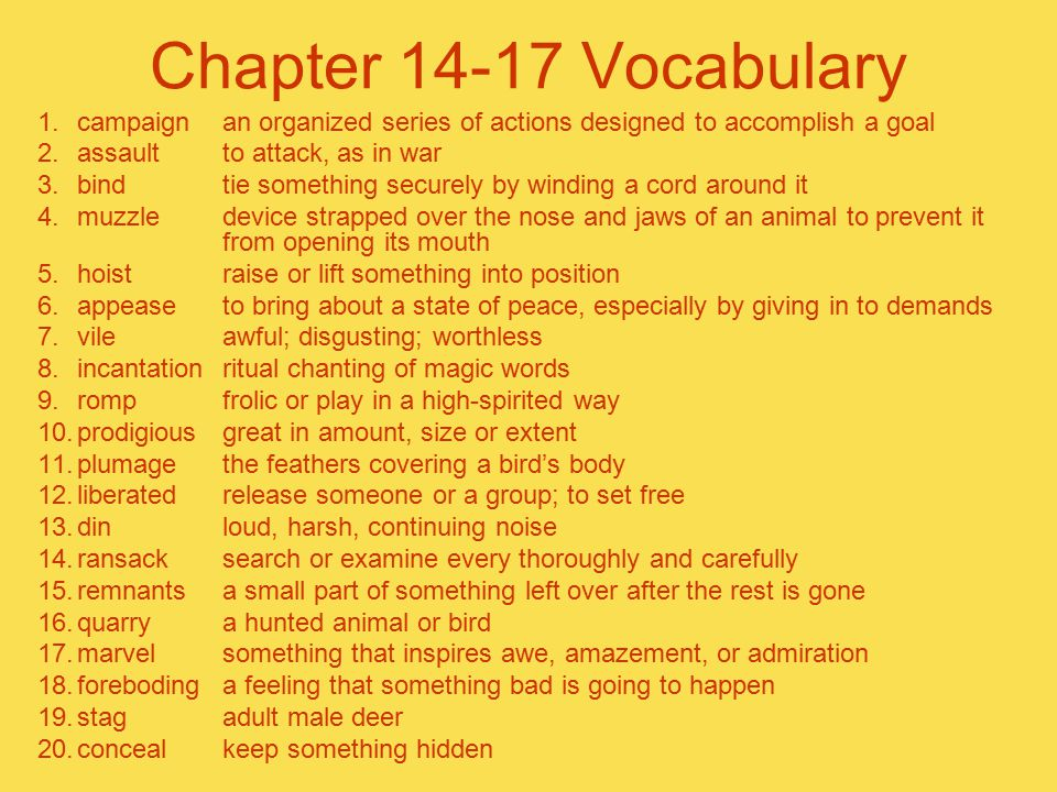 Chapter 14-17 Vocabulary campaign an organized series of actions designed to accomplish a goal. assault to attack, as in war.