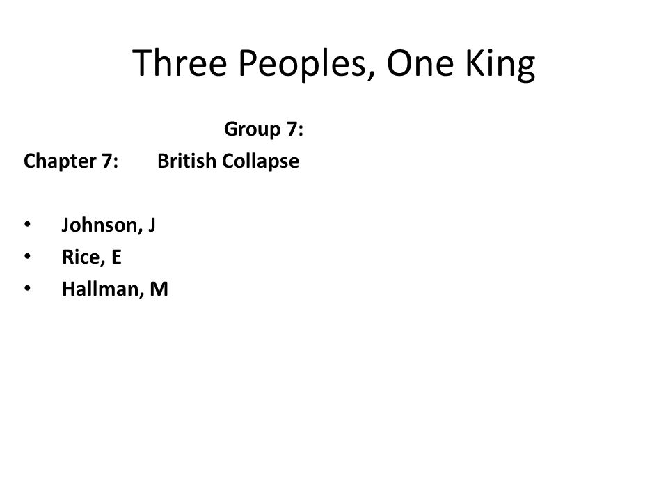 Three Peoples, One King Group 7: Chapter 7: British Collapse