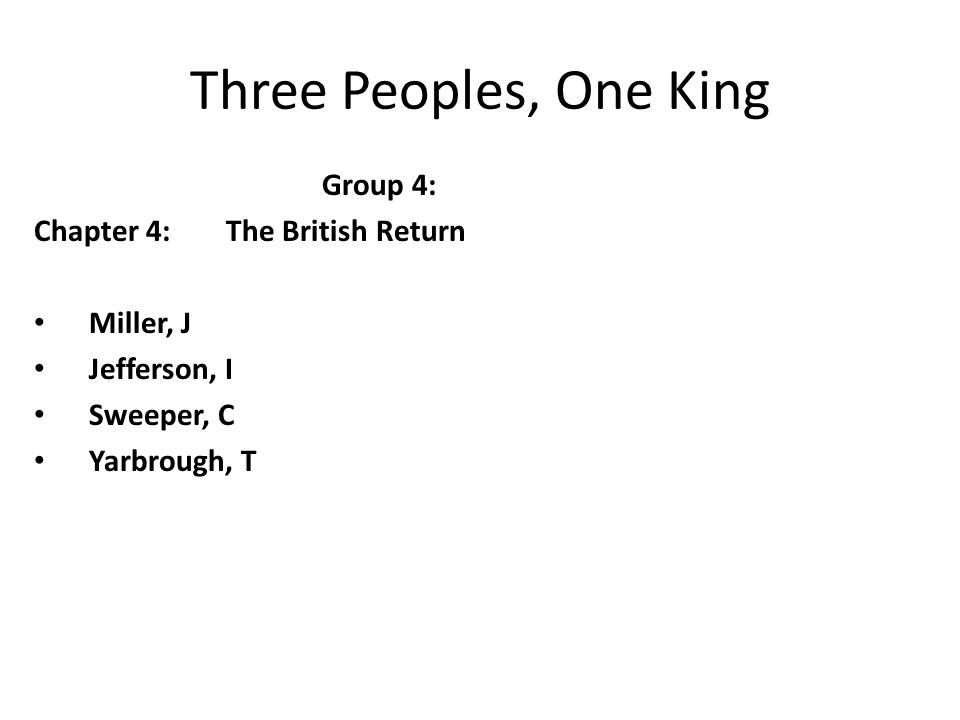 Three Peoples, One King Group 4: Chapter 4: The British Return