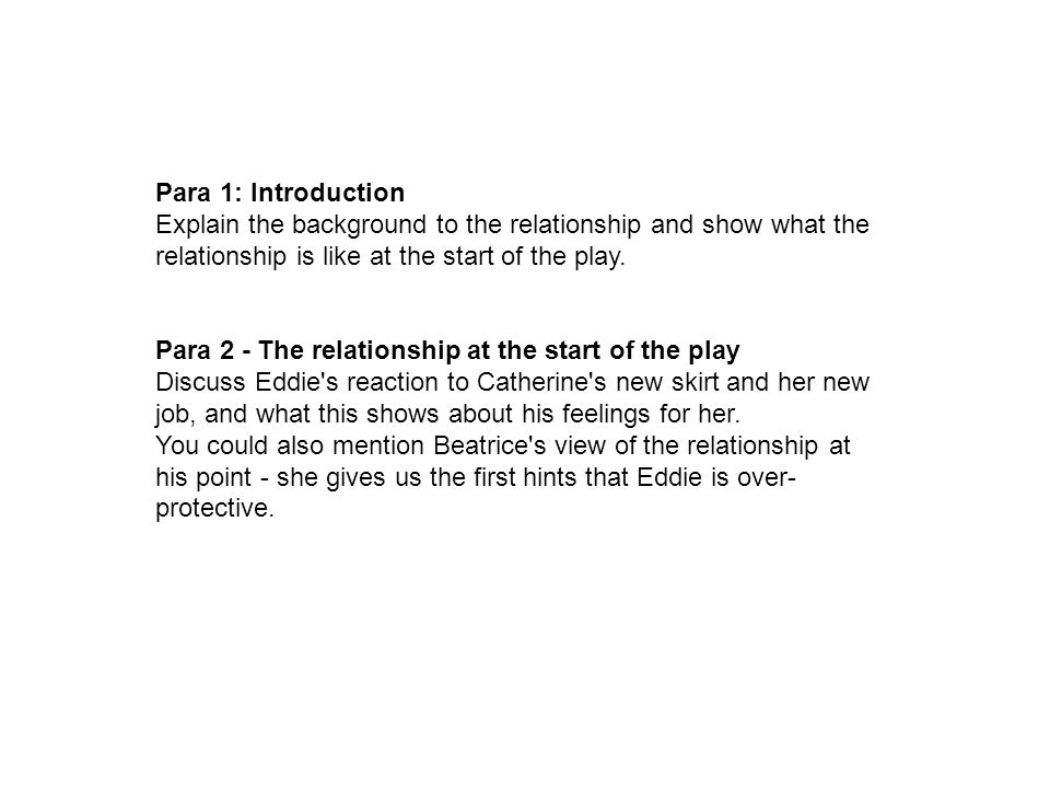 Para 1: Introduction Explain the background to the relationship and show what the relationship is like at the start of the play.