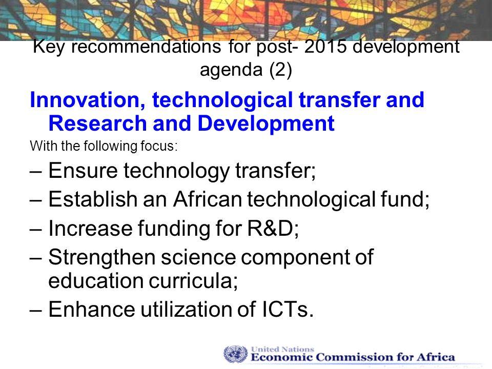 Key recommendations for post- 2015 development agenda (2)