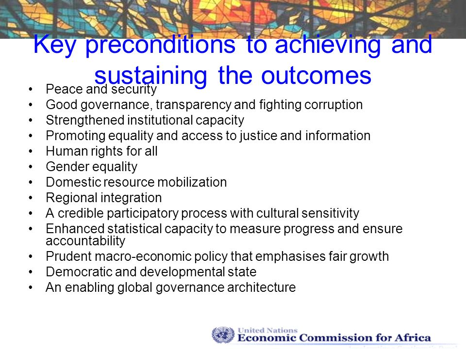 Key preconditions to achieving and sustaining the outcomes