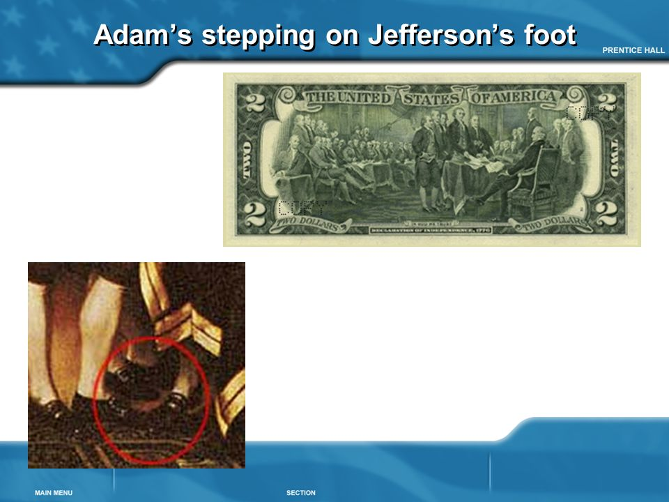 Adam's stepping on Jefferson's foot