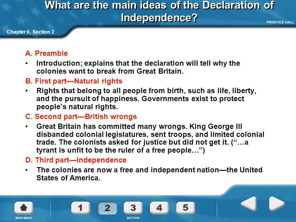 What are the main ideas of the Declaration of Independence