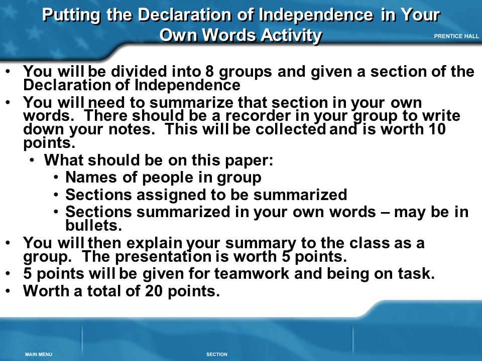 Putting the Declaration of Independence in Your Own Words Activity