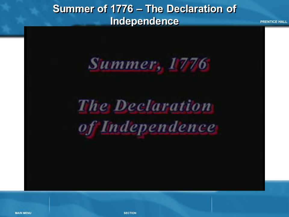 Summer of 1776 – The Declaration of Independence