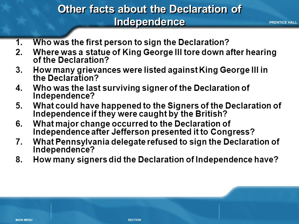 Other facts about the Declaration of Independence