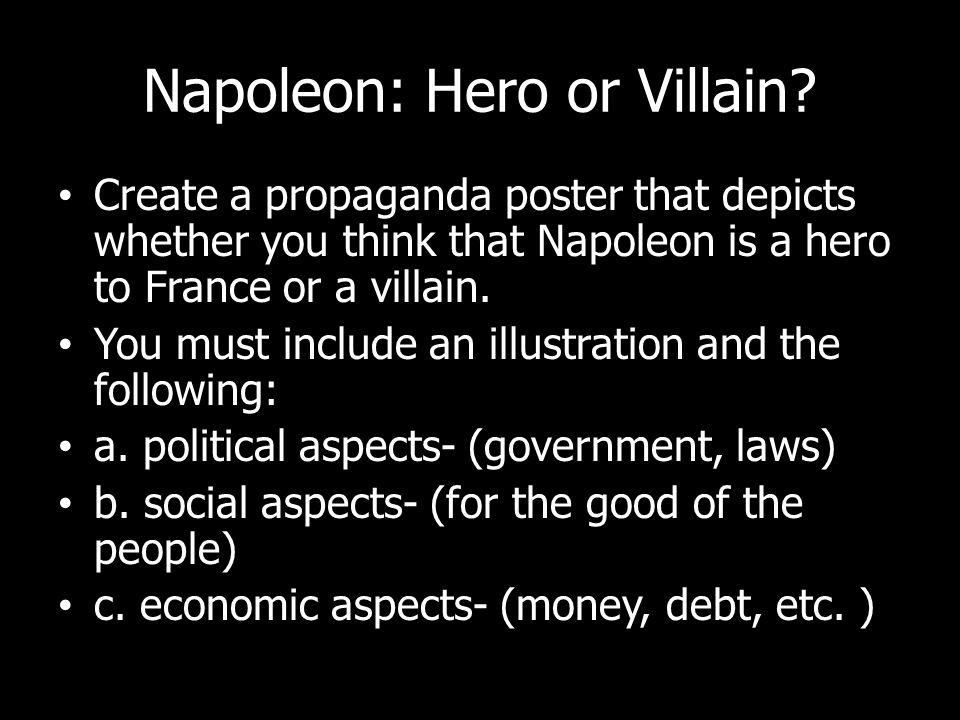 napoleon bonaparte label page napoleon bonaparte write down  26 napoleon hero or villain