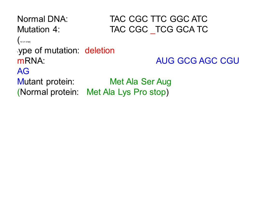 Normal DNA: TAC CGC TTC GGC ATC Mutation 4: TAC CGC _TCG GCA TC