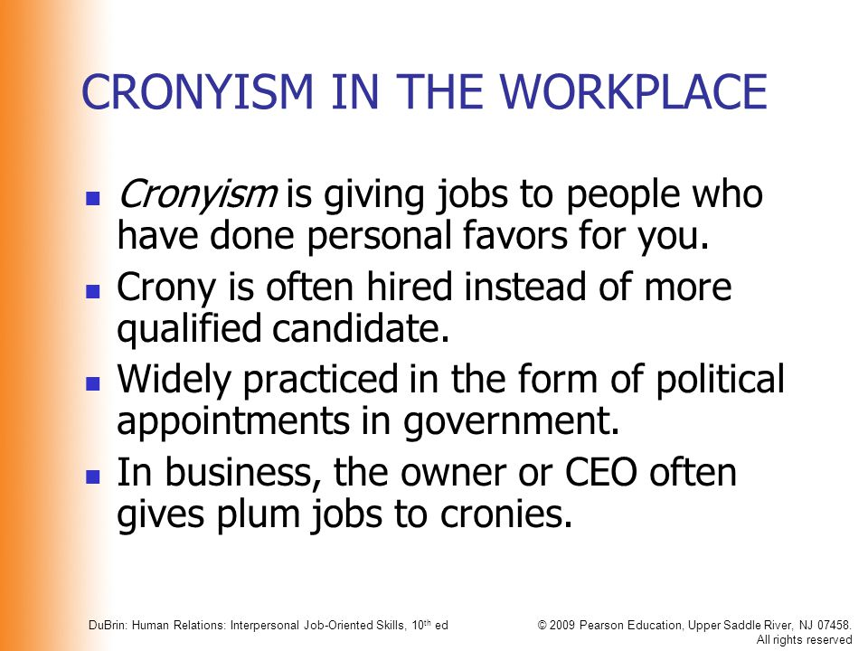 CRONYISM IN THE WORKPLACE