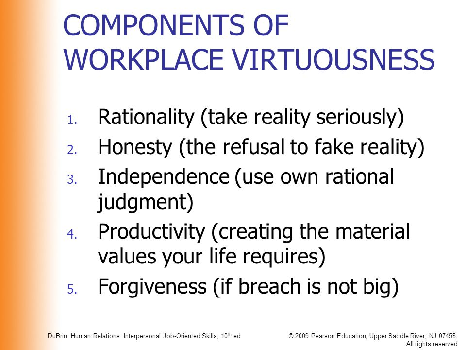COMPONENTS OF WORKPLACE VIRTUOUSNESS