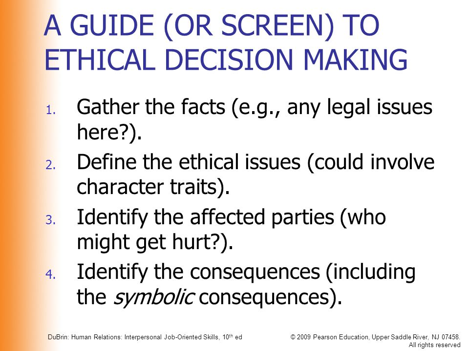 A GUIDE (OR SCREEN) TO ETHICAL DECISION MAKING