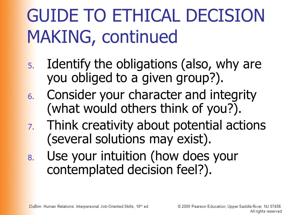 GUIDE TO ETHICAL DECISION MAKING, continued