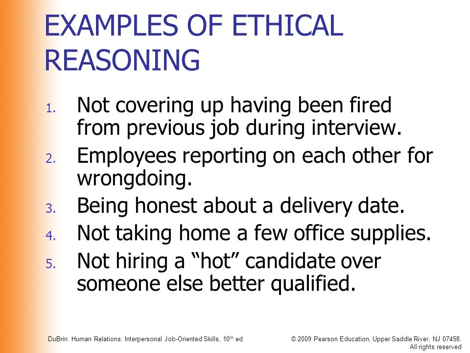 EXAMPLES OF ETHICAL REASONING