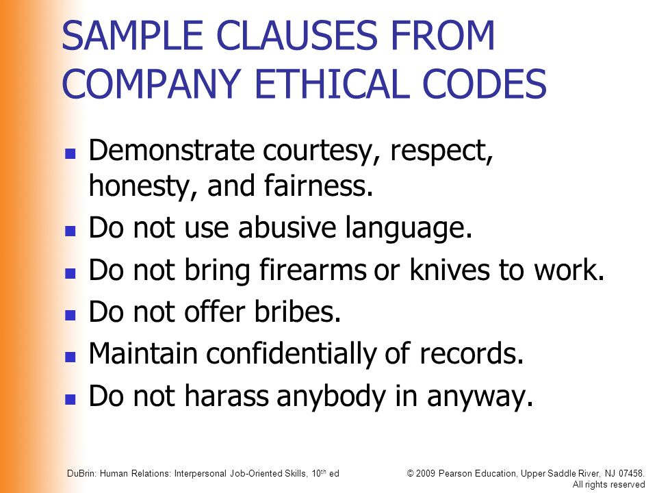 SAMPLE CLAUSES FROM COMPANY ETHICAL CODES