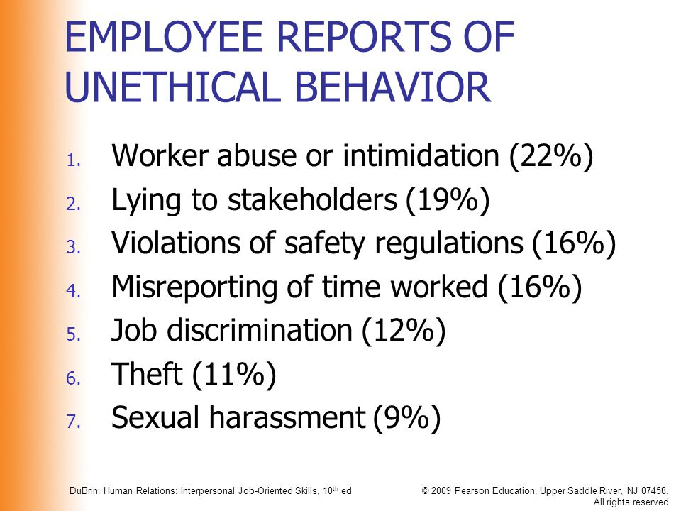 EMPLOYEE REPORTS OF UNETHICAL BEHAVIOR
