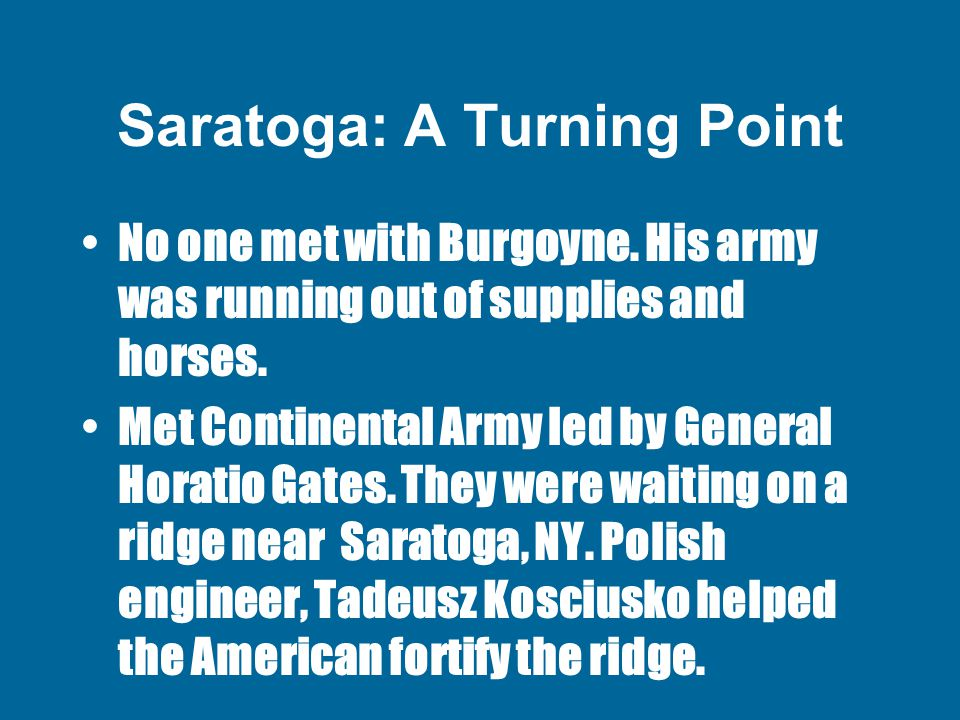 Saratoga: A Turning Point