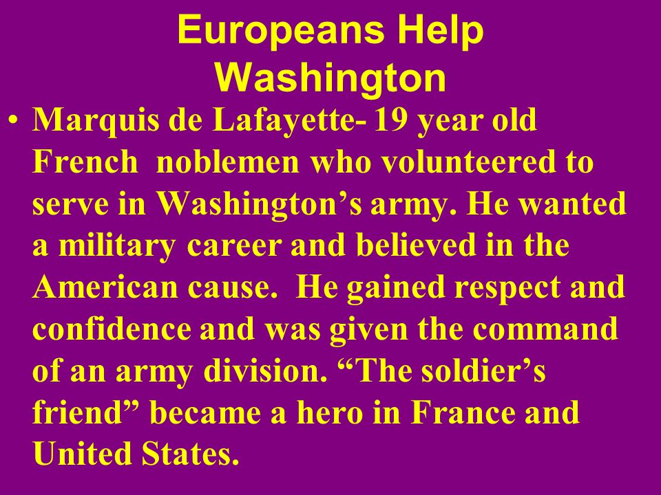 Europeans Help Washington