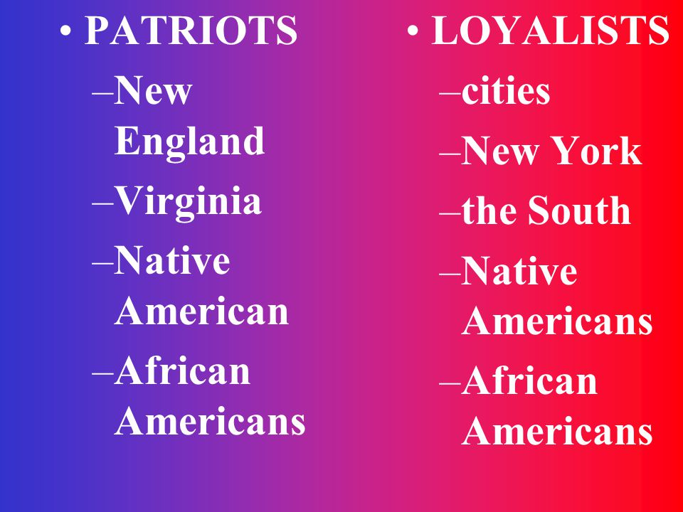 PATRIOTS New England. Virginia. Native American. African Americans. LOYALISTS. cities. New York.