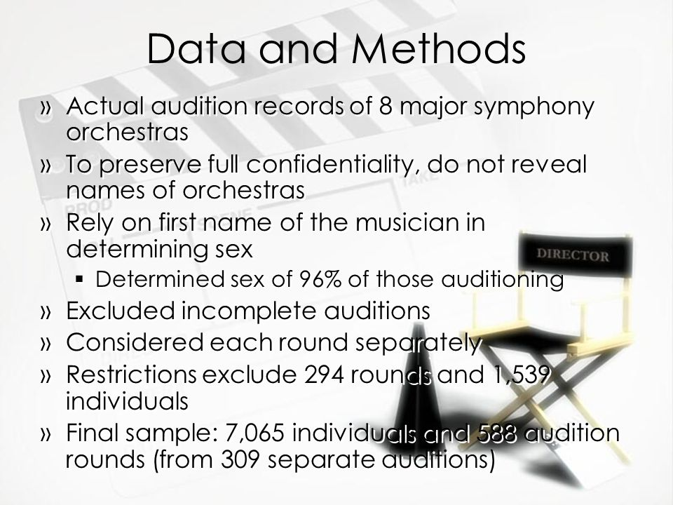 Data and Methods Actual audition records of 8 major symphony orchestras. To preserve full confidentiality, do not reveal names of orchestras.