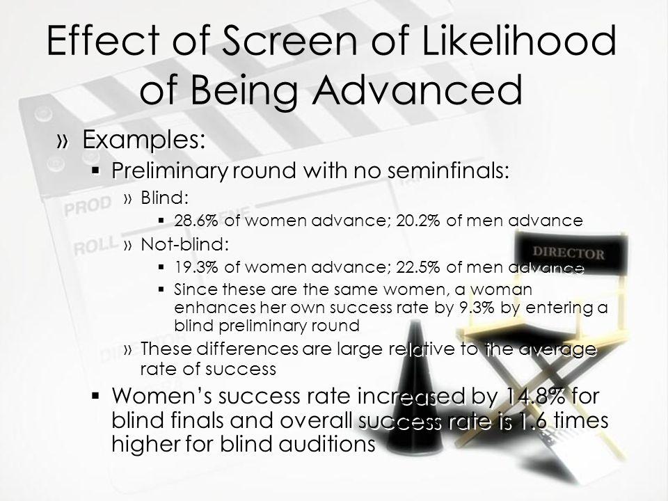 Effect of Screen of Likelihood of Being Advanced