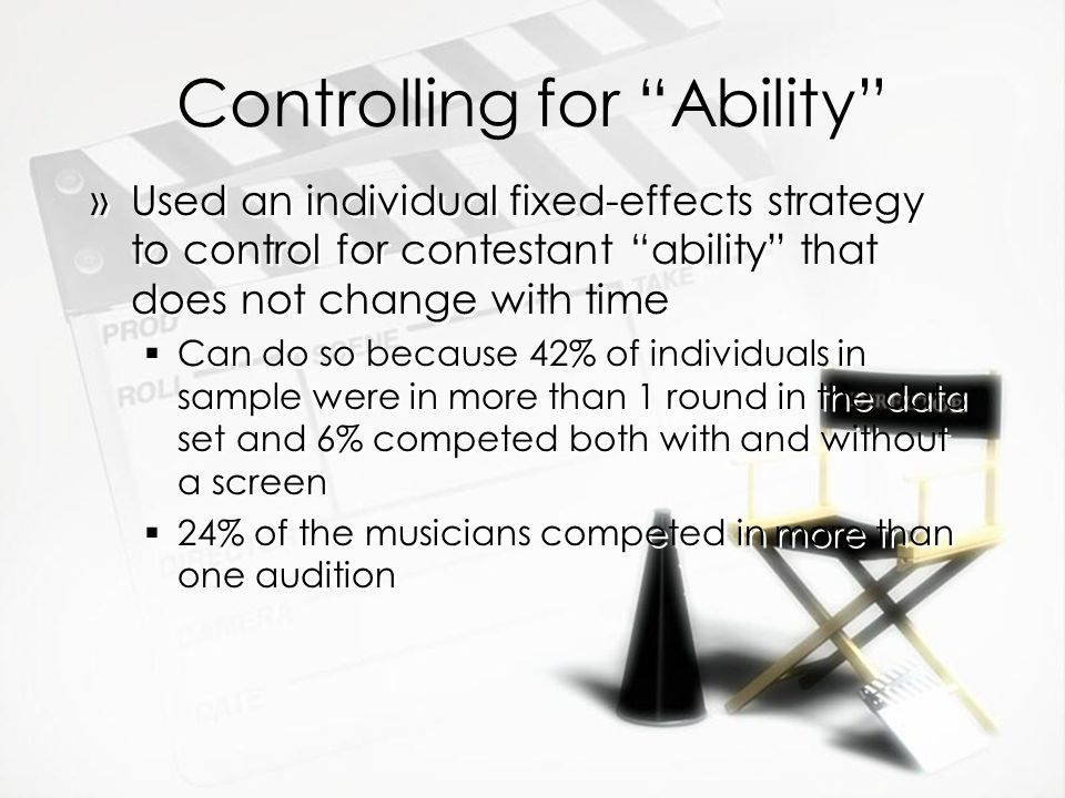 Controlling for Ability