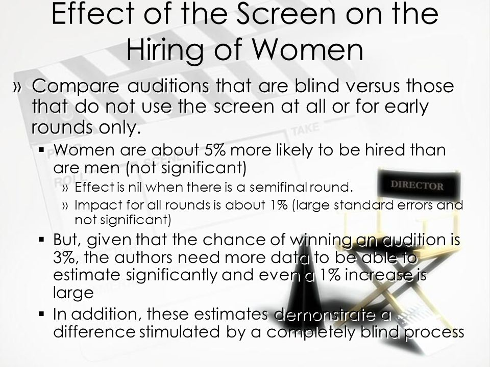 Effect of the Screen on the Hiring of Women