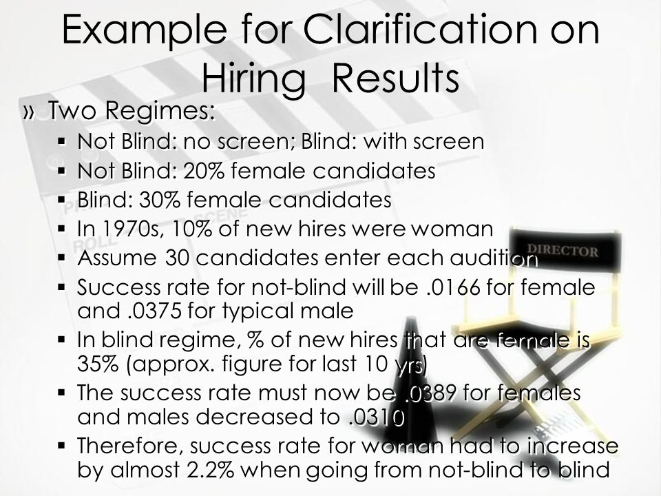 Example for Clarification on Hiring Results